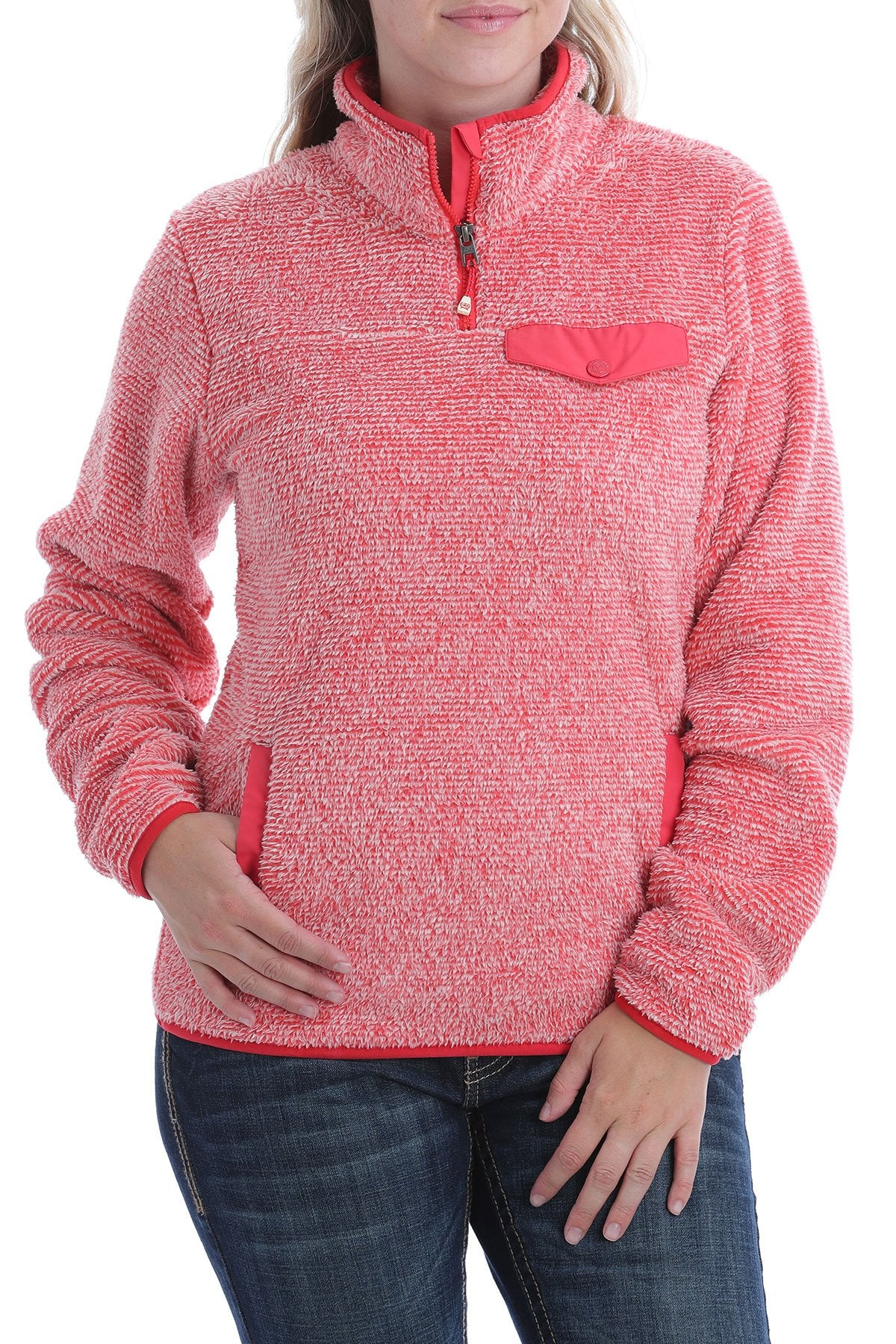 LADIES CORAL 1/4 ZIP FLEECE PULLOVER
