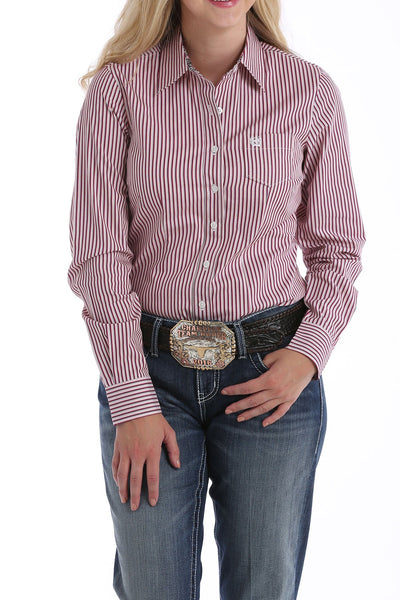 LADIES PINK STRIPE LONG SLEEVE SHIRT