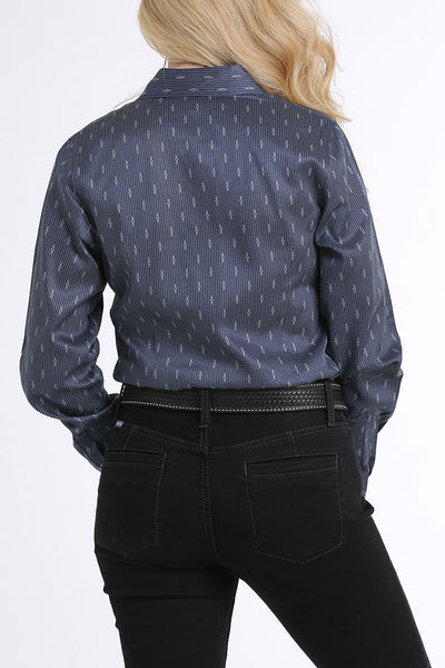 10/15/19 LADIES NAVY PRINT LONG SLEEVE SHIRT