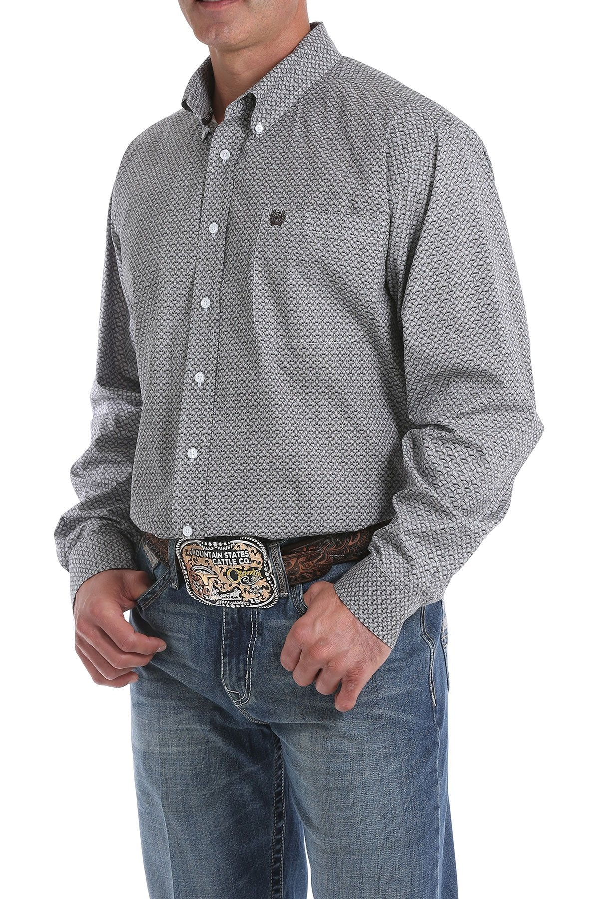 10/1 MENS LT BLUE PRINT LONG SLEEVE SHIRT