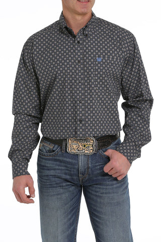 MENS BLACK/BLUE PRINT LONG SLEEVE SHIRT