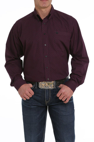 12/1 MENS DEEP PURPLE PRINT LONG SLEEVE SHIRT