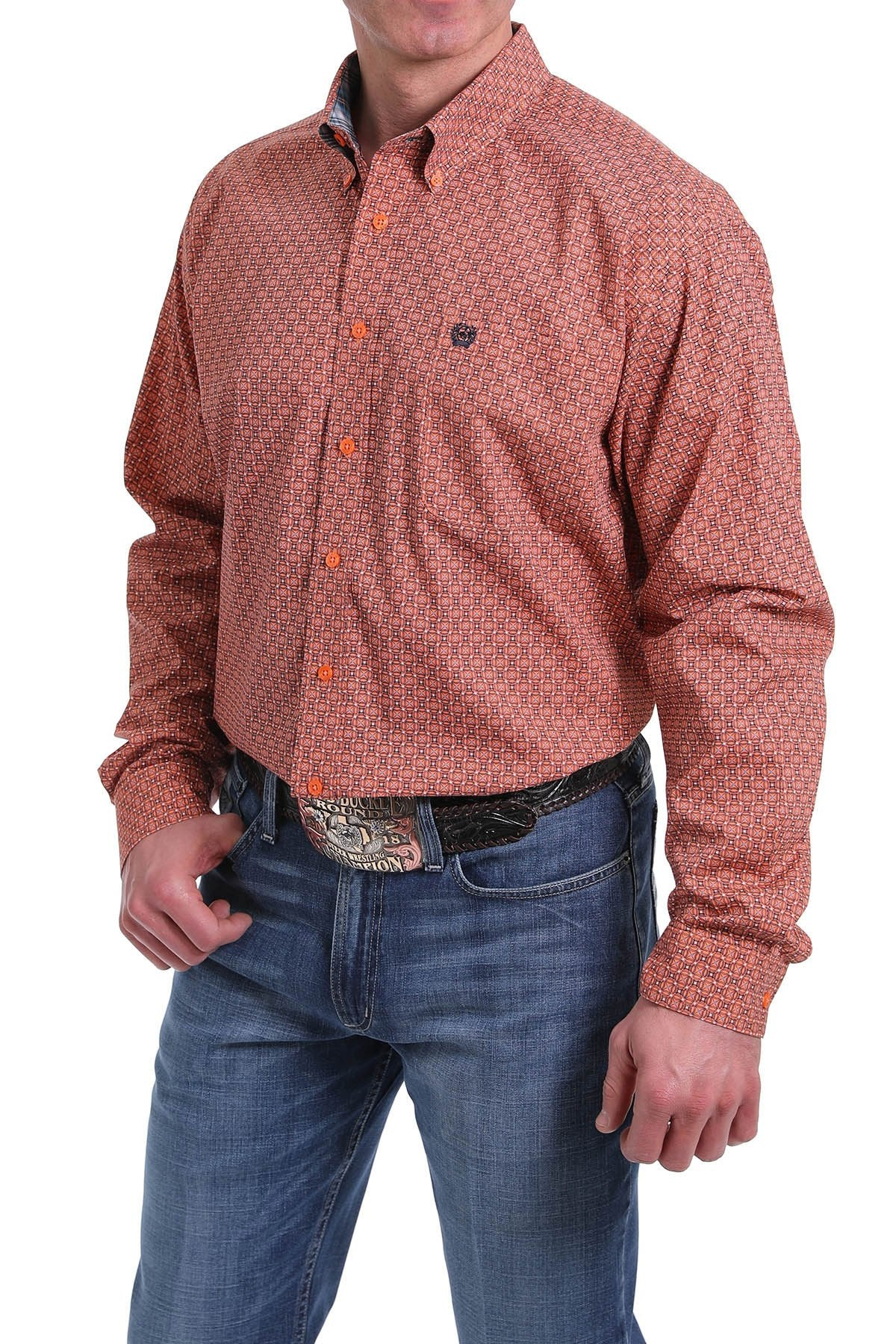MENS ORANGE PRINT LONG SLEEVE SHIRT