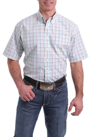 3/20 MENS TAN/AQUA PLAID SHORT SLEEVE SHIRT