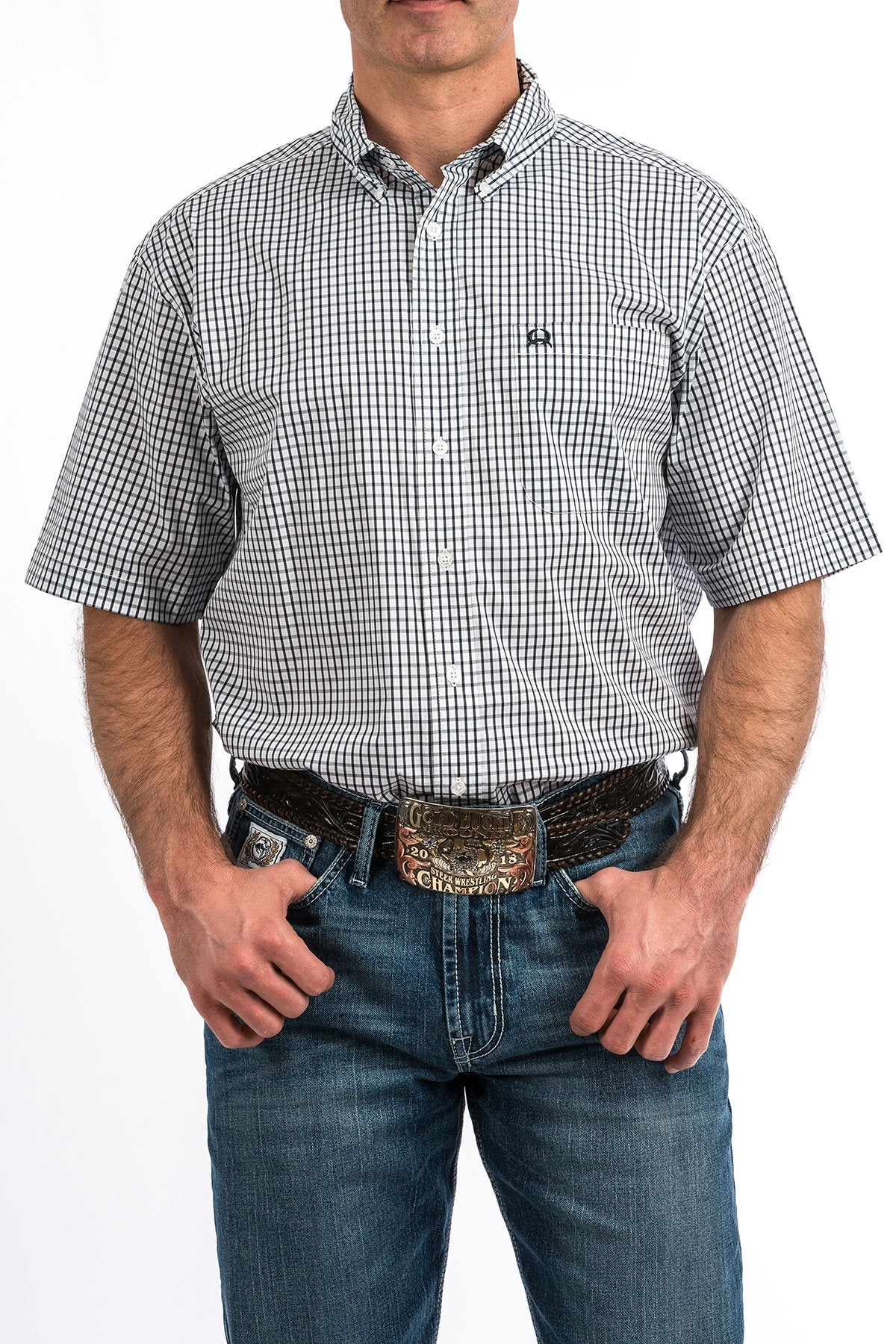 MENS NAVY CHECK ARENA FLEX SHIRT