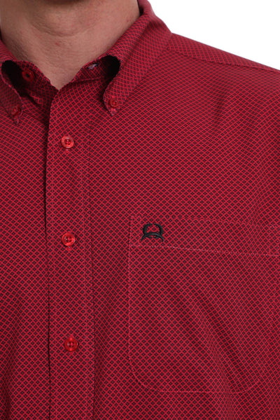 4/20 MENS RED PRINT SHORT SLEEVE SHIRT