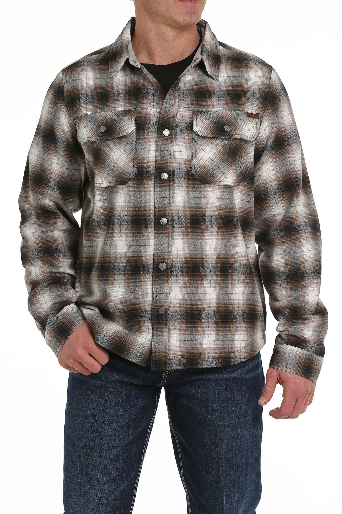12/1 MENS BROWN/BLACK PLAID BRUSHED COTTON TWILL SHIRT JACKET