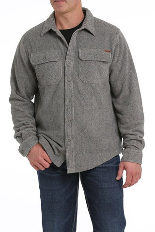 12/1 MENS HEATHER KHAKI FLEECE SHIRT JACKET