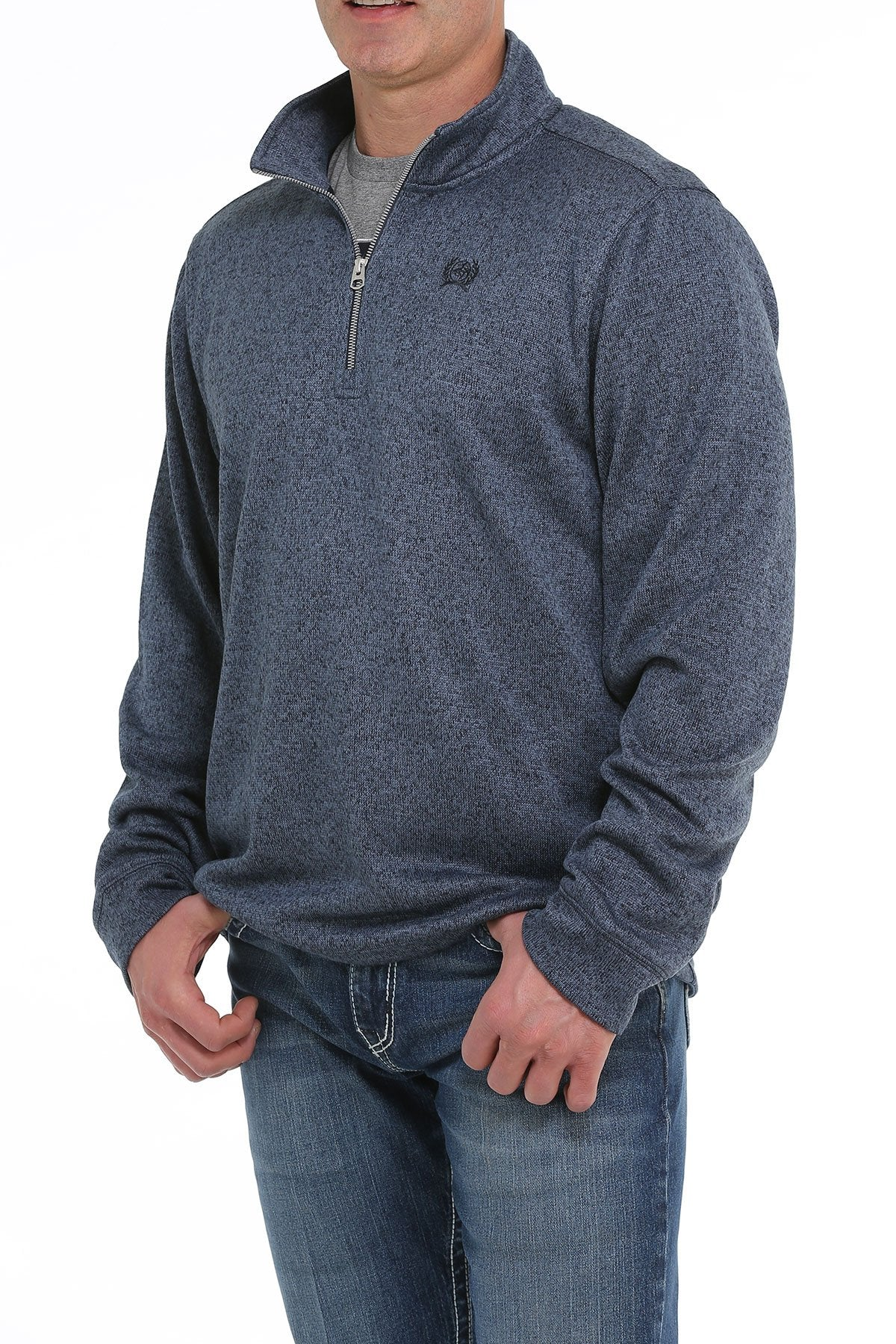 MENS HEATHER NAVY 1/4 ZIP KNIT PULLOVER