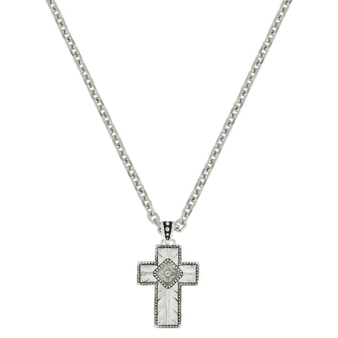 "WIDE CROSS NECKLACE 22"" CHAIN"