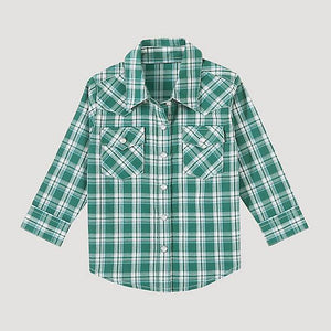 11/15 TODDLER BOYS GREEN PLAID SNAP LONG SLEEVE SHIRT