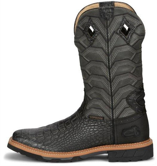 JUSTIN BLACK CROC PRINT WATERPROOF WORK BOOT