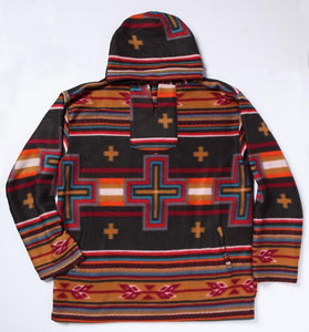 BLACK/TAN SOUTHWEST FLEECE PULLOVER