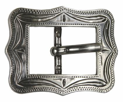 ENGRAVED ANTIQUE SILVER CART BUCKLE