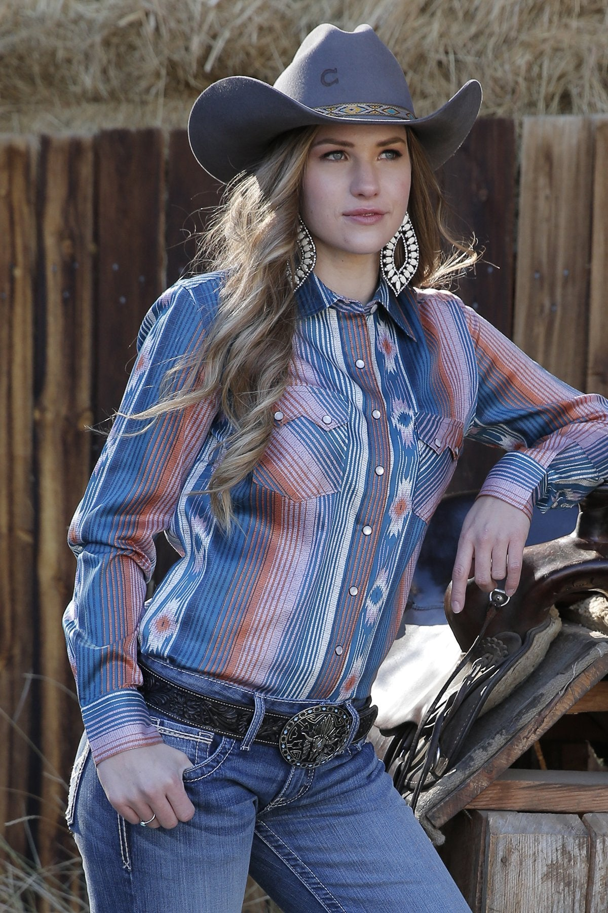 LADIES SOUTHWEST STRIPE SHIRT