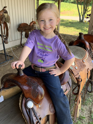 GIRLS LAVENDER BOOTS & BOWS ARENA BUM TEE