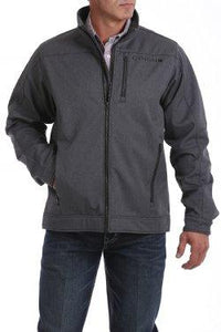 MENS GREY TEXTURED BONDED JACKET
