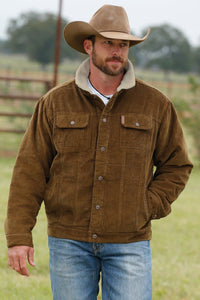 MENS BROWN CORDUROY JACKET W/ SHERPA LINING