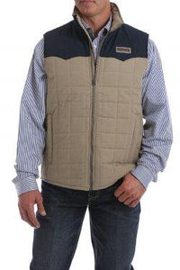 MENS TAN/NAVY QUILTED CANVAS VEST