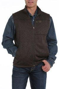 11/19 MENS HEATHER BROWN FLEECE SWEATER VEST