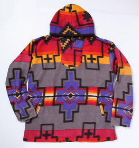 GREY/PURPLE/RED SOUTHWEST FLEECE PULLOVER