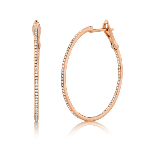 Medium Pave Diamond Hoop Earrings