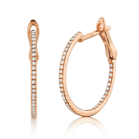 Small Pave Diamond Hoop Earrings