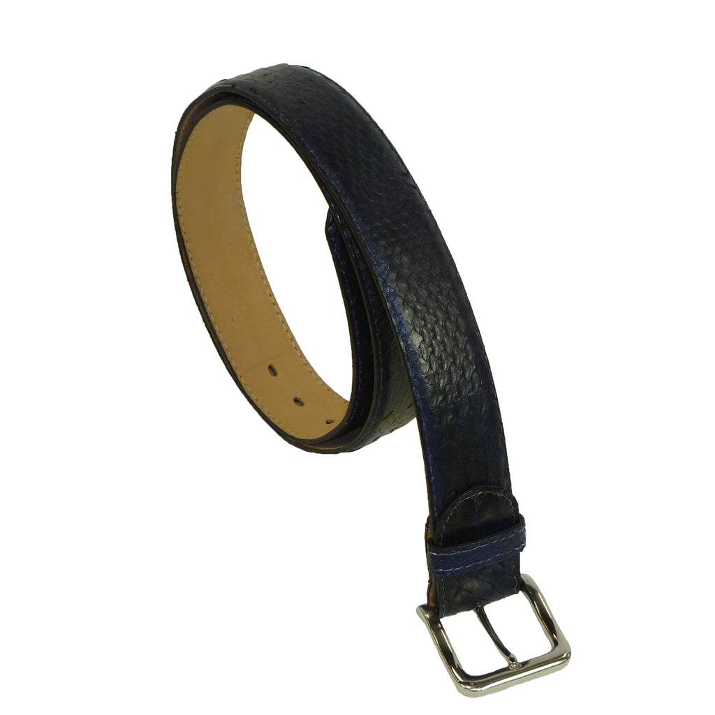 Exotic Navy Snakeskin Wide Belt from the exclusive Coly collection. Handmade in Los Angeles.