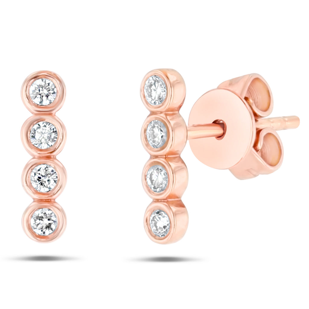 4 Bezel Stud Earrings