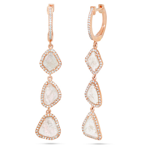 Triple Sliced Diamond Drop Earrings