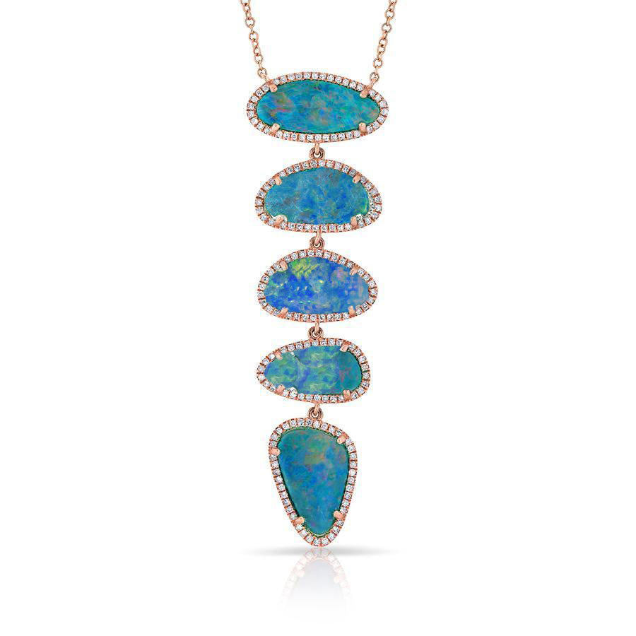 5 Opal Diamond Necklace
