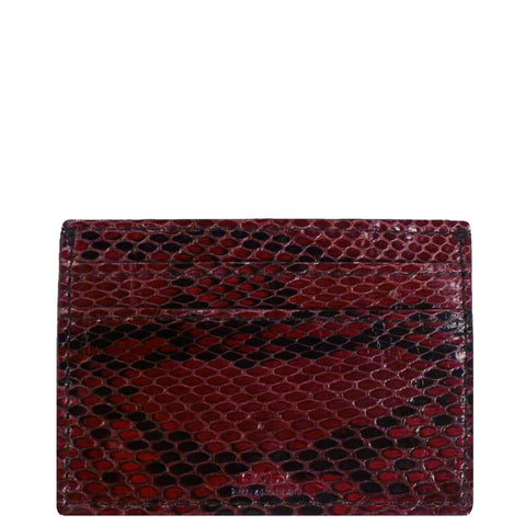 "Exotic Wine and Black Snakeskin Credit Card Holder from the exclusive Coly collection features 4 credit card slots, and an interior cash slot! Dimensions are 4""W x 3""H. Handmade in Los Angeles."
