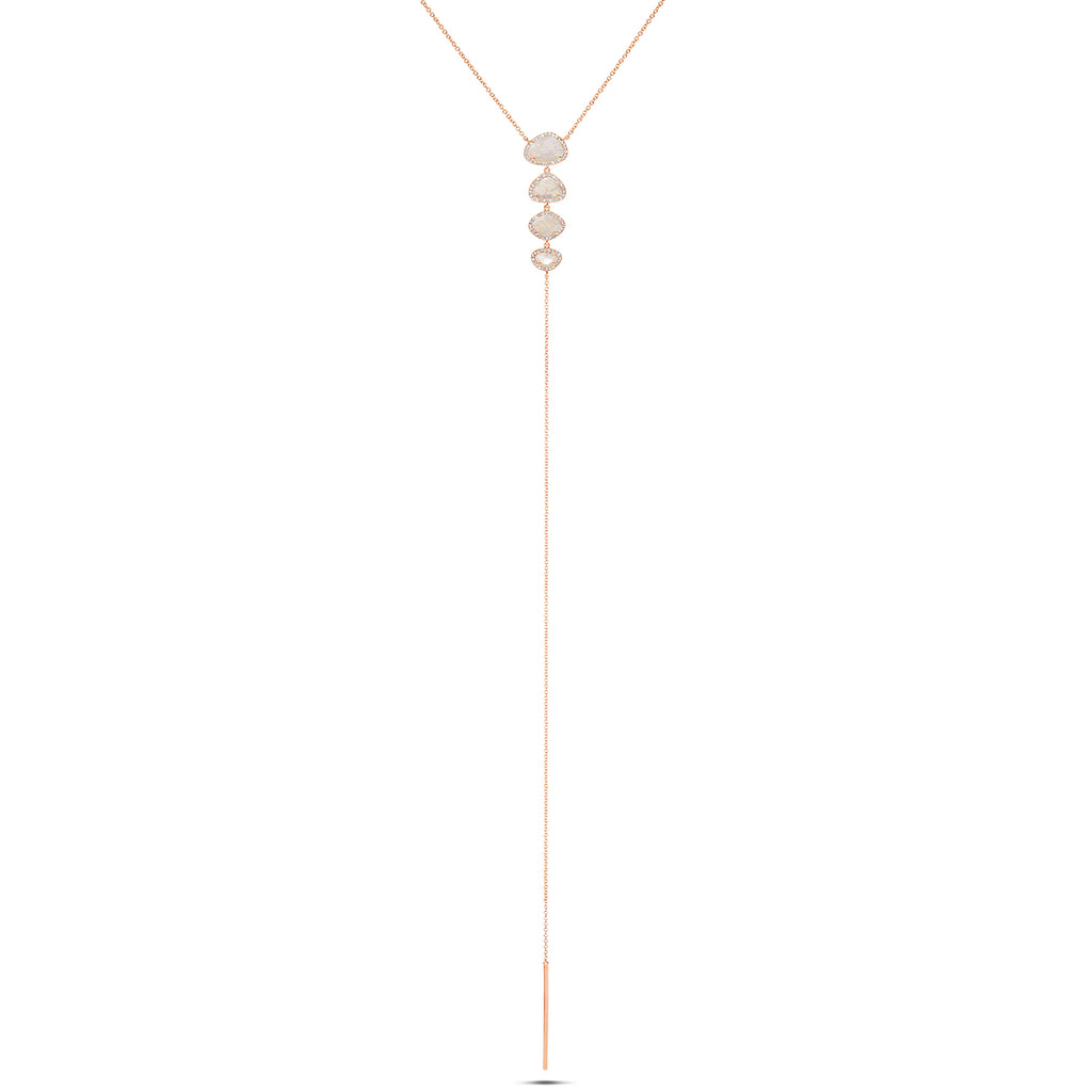 Moonstone and Diamond Lariat