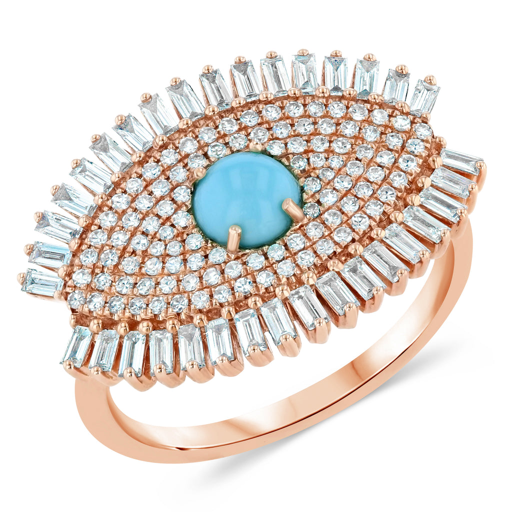 Diamond Turquoise Eye Ring