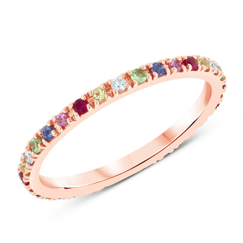 Rainbow Stone Eternity Band