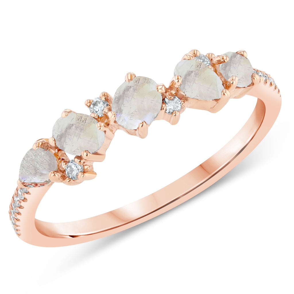 Moonstone Diamond Stack Ring
