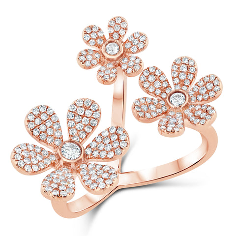 Triple Flower Diamond Ring