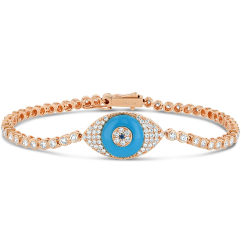 XL Blue Topaz Evil Eye Tennis Bracelet