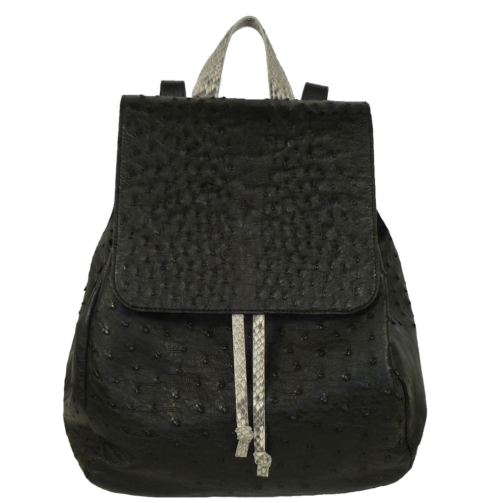 Customized Ostrich drawstring backpack made by Coly Los Angeles Handmade in Los Angeles.