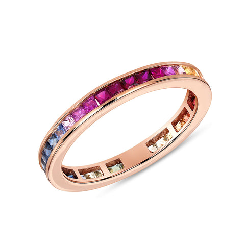 Baguette Ombre Rainbow Ring