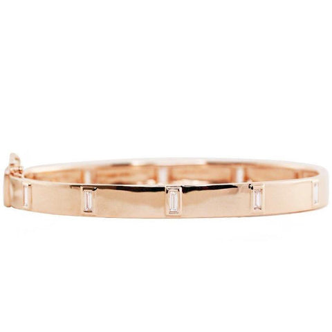 Gold Bangle with Baguette Diamonds
