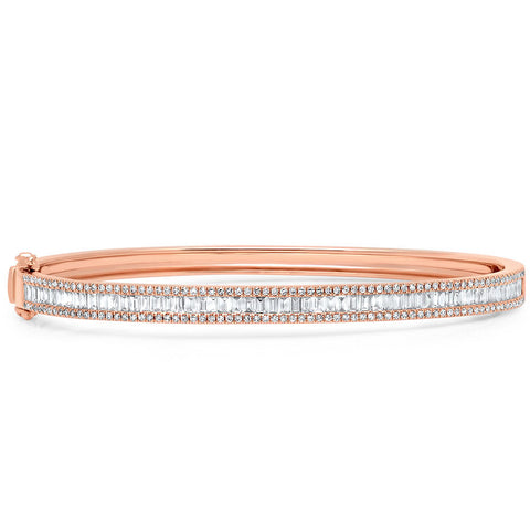 Baguette Diamond Lined Bangle