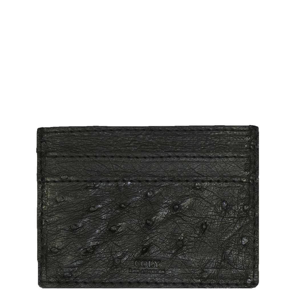 "Exotic Black Credit Card Holder in Ostrich from the exclusive Coly collection features 4 credit card slots, and an interior cash slot! Dimensions are 4""W x 3""H. Handmade in Los Angeles.l"