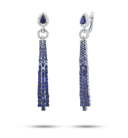 Blue Sapphire Chandelier Drop Earrings