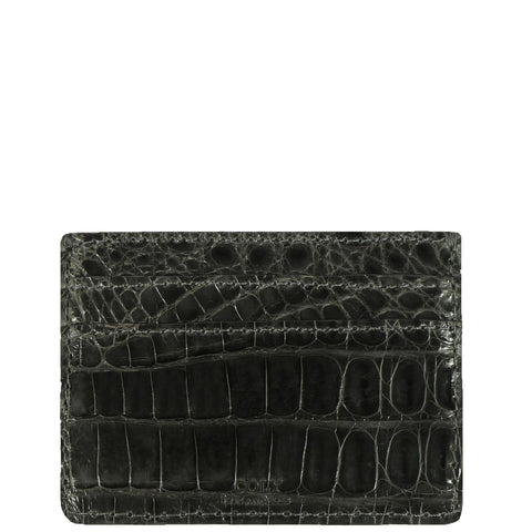 "Exotic Charcoal Crocodile Credit Card Holder from the exclusive Coly collection features 4 credit card slots, and an interior cash slot! Dimensions are 4""W x 3""H."