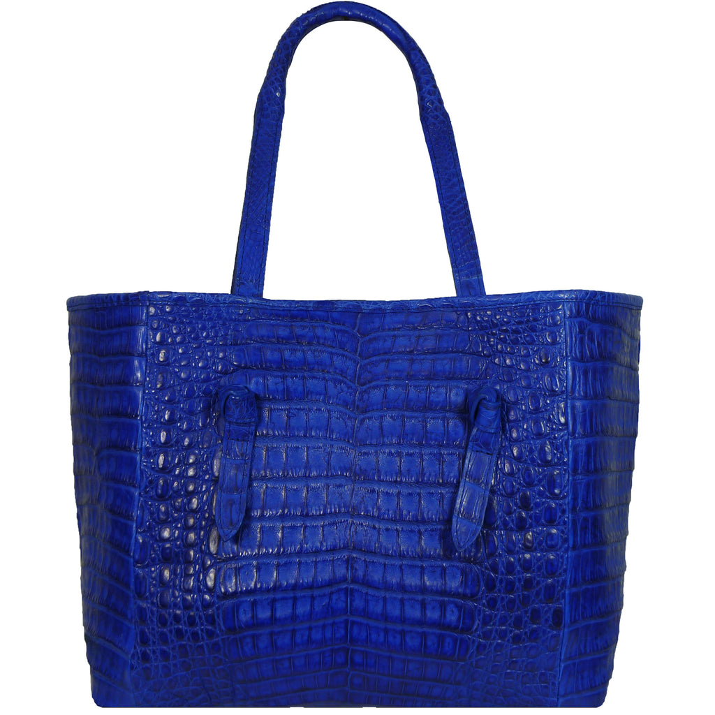 Cobalt Blue Matte Genuine Crocodile Knotted Tote by Coly Los Angeles
