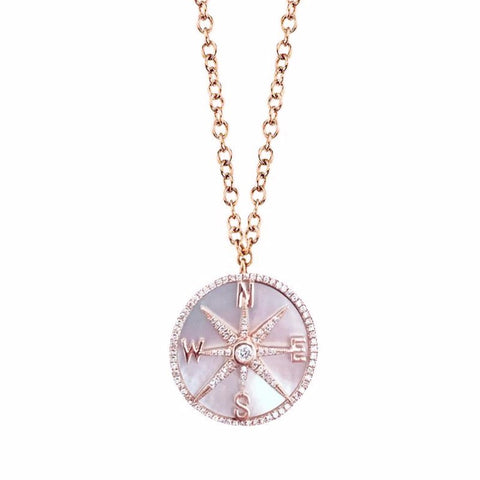 Compass Mother of Pearl Diamond Necklace