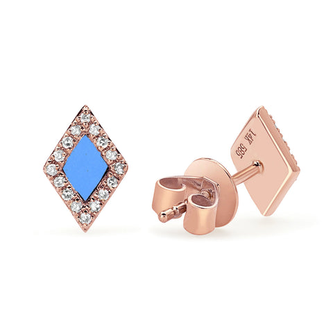 Turquoise and Diamond Shape Studs
