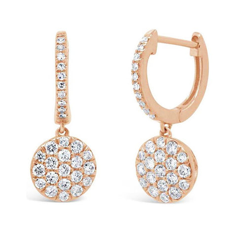 Pave Disc Drop Earrings