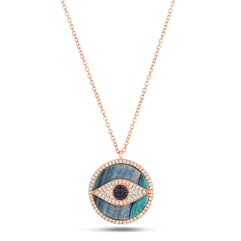 Opal and Diamond Eye Pendant